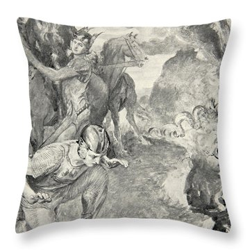 Beowulf Finds The Head Of Aschere Throw Pillow