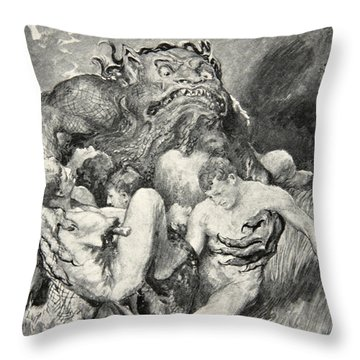 Beowulf Print Throw Pillow by John Henry Frederick Bacon