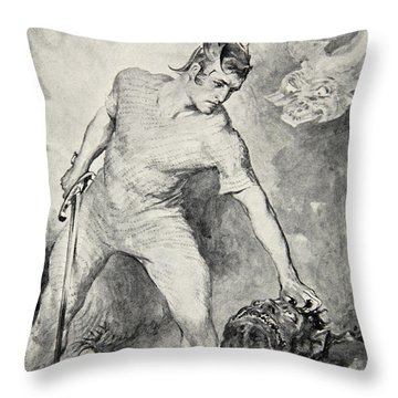 Beowulf Shears Off The Head Of Grendel Throw Pillow by John Henry Frederick Bacon