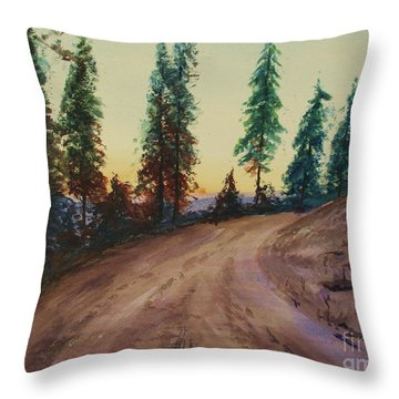 Throw Pillow featuring the painting Bergebo Forest by Martin Howard
