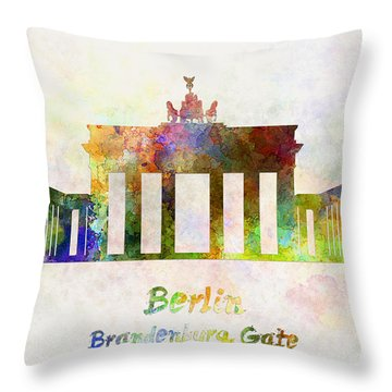 Berlin Landmark Brandenburg Gate In Watercolor Throw Pillow by Pablo Romero