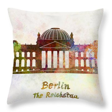 Berlin Landmark The Reichstag In Watercolor Throw Pillow by Pablo Romero