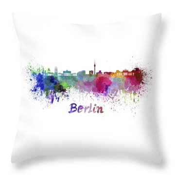 Berlin Skyline In Watercolor Throw Pillow by Pablo Romero