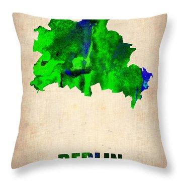 Berlin Watercolor Map Throw Pillow by Naxart Studio