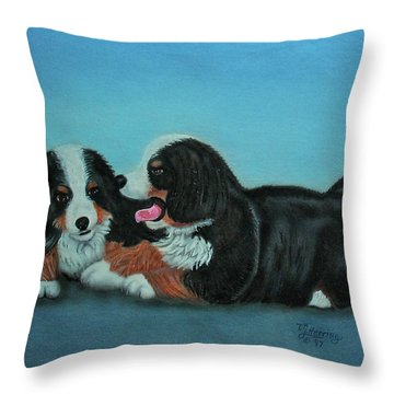 Bernese Mountain Puppies Throw Pillow
