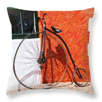 Throw Pillow featuring the photograph Bermuda Antique Bicycle by Verena Matthew