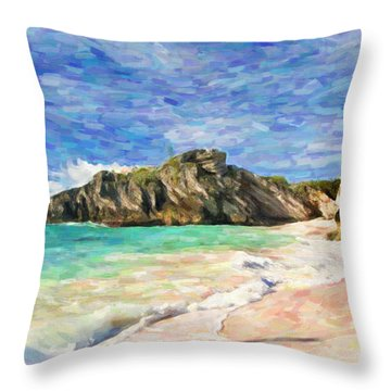Bermuda Beach Throw Pillow by Verena Matthew