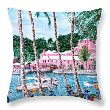 Bermuda Pink Hotel Throw Pillow