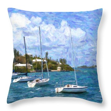 Throw Pillow featuring the photograph Bermuda Sailboats by Verena Matthew
