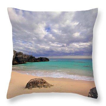 Bermuda Secret Beach Throw Pillow by Charline Xia