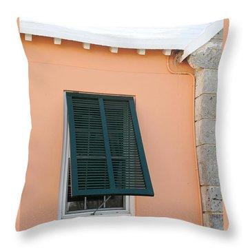 Bermuda Shutters Throw Pillow by Ian  MacDonald