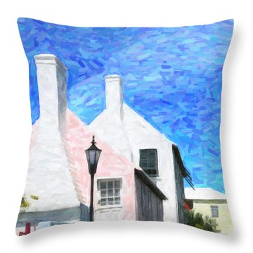 Throw Pillow featuring the photograph Bermuda Side Street by Verena Matthew