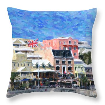 Throw Pillow featuring the photograph Bermuda Waterfront by Verena Matthew