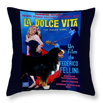 Bernese Mountain Dog Art Canvas Print - La Dolce Vita Movie Poster Throw Pillow
