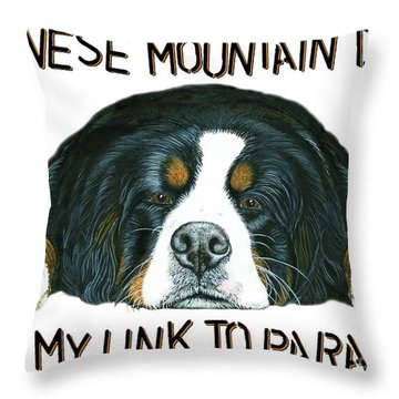 Bernese Mountain Dog Paradise Throw Pillow by Liane Weyers
