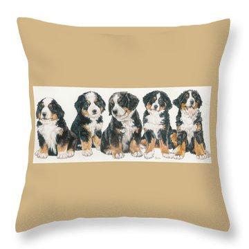 Bernese Mountain Dog Puppies Throw Pillow by Barbara Keith