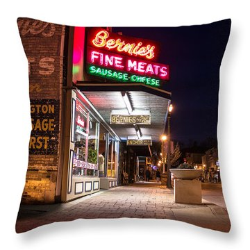 Bernies Fine Meats Signage Throw Pillow by James  Meyer