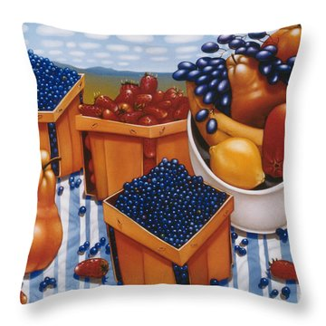 Berries And Fruit 1997  Skewed Perspective Series 1991 - 2000 Throw Pillow