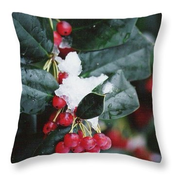 Berries In The Snow Throw Pillow