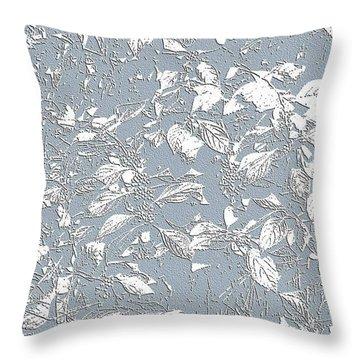 Berry Branch Blue Throw Pillow by Ellen O'Reilly