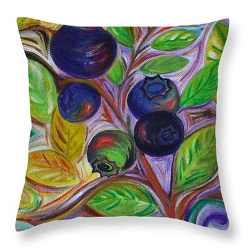 Berry Bush Throw Pillow by Cynthia Lagoudakis