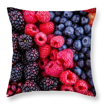 Berry Delicious Throw Pillow by Teri Virbickis