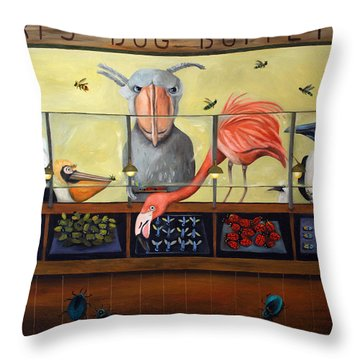 Bert's Bug Buffet Throw Pillow by Leah Saulnier The Painting Maniac