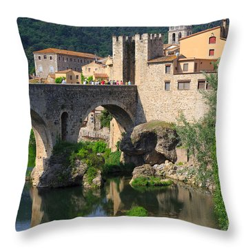 Besalu A Medieval Town In Catalonia Spain Throw Pillow by Louise Heusinkveld