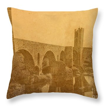 Besalu Bridge Throw Pillow