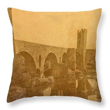 Besalu Bridge Throw Pillow by Nigel Fletcher-Jones