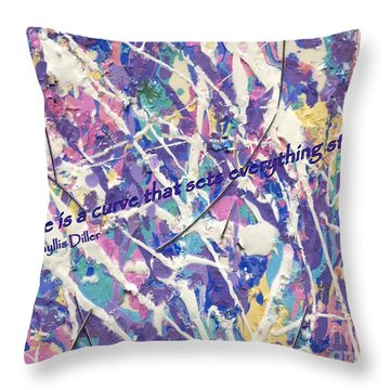 Besso Pollock Smile Quotes Throw Pillow by Marlene Rose Besso