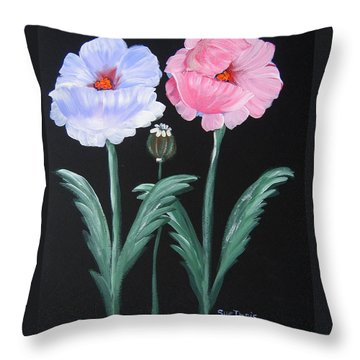 Throw Pillow featuring the painting Best Buds by Suzanne Theis