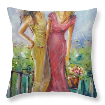 Throw Pillow featuring the painting Best Friends 171008 by Selena Boron