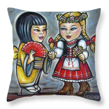 Best Friends 171011 Throw Pillow by Selena Boron