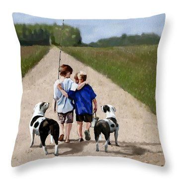 Throw Pillow featuring the painting Best Friends Forever by Jann Paxton