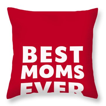 Best Moms Card- Red- Two Moms Mother's Day Card Throw Pillow by Linda Woods