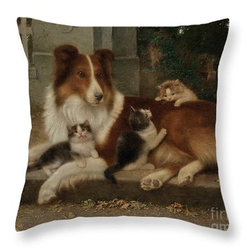 Best Of Friends Throw Pillow by Wilhelm Schwar