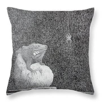 Throw Pillow featuring the painting Bestilled Life by A  Robert Malcom