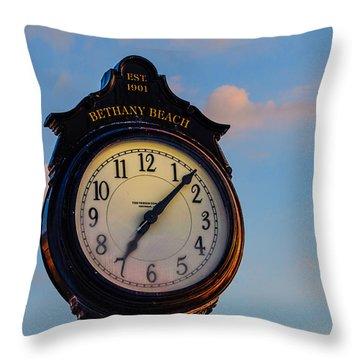 Bethany Beach Clock Throw Pillow