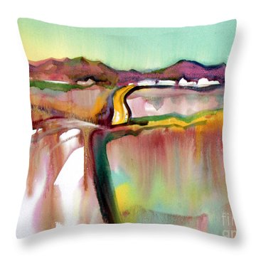 Throw Pillow featuring the painting Bethel Road by Teresa Ascone