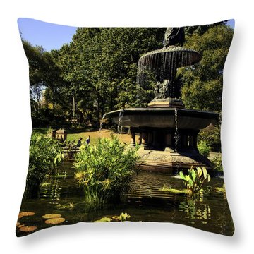 Bethesda Fountain - Central Park 2 Throw Pillow by Madeline Ellis