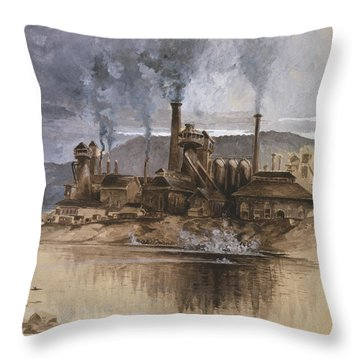 Bethlehem Steel Corporation Circa 1881 Throw Pillow by Aged Pixel