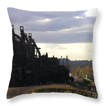 Bethlehem Steel On The Lehigh River Throw Pillow by Jacqueline M Lewis