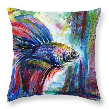 Betta Throw Pillow by Zaira Dzhaubaeva