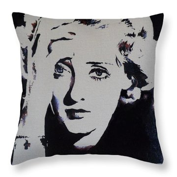 Throw Pillow featuring the painting Bette Davis by Cherise Foster