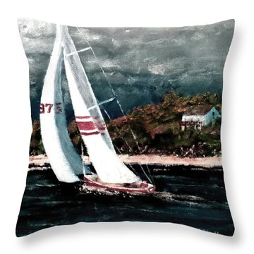 Throw Pillow featuring the painting Better Beat The Storm by Jim Phillips