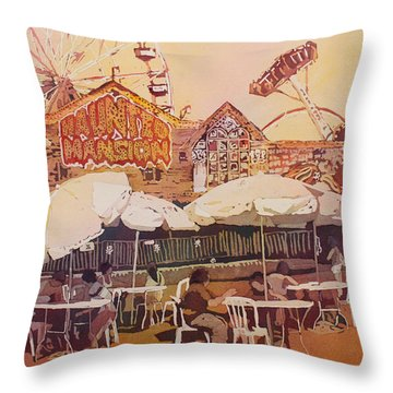 Between Amusements Throw Pillow by Jenny Armitage
