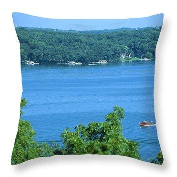 Between Green Shores - Lake Geneva Wisconsin Throw Pillow