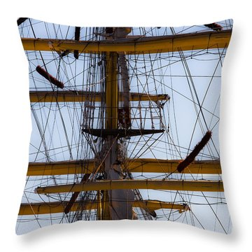 Between Masts And Ropes Throw Pillow by Edgar Laureano