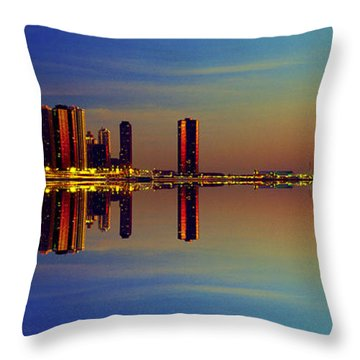 Between Night And Day Chicago Skyline Mirrored Throw Pillow
